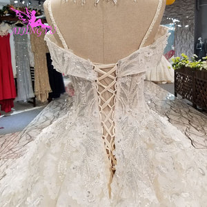 Image 5 - Aijingyu安いデザイナーのウェディングドレスチュールドレスシンプルな真珠の婚約インドクロップトップ長袖ガウンギリシャドレス