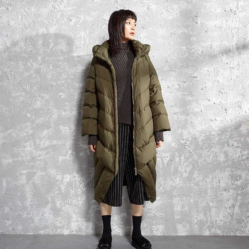 Women Original Design High Quality Loose Long Down Jackets Fashion Patchwork Down Parkas