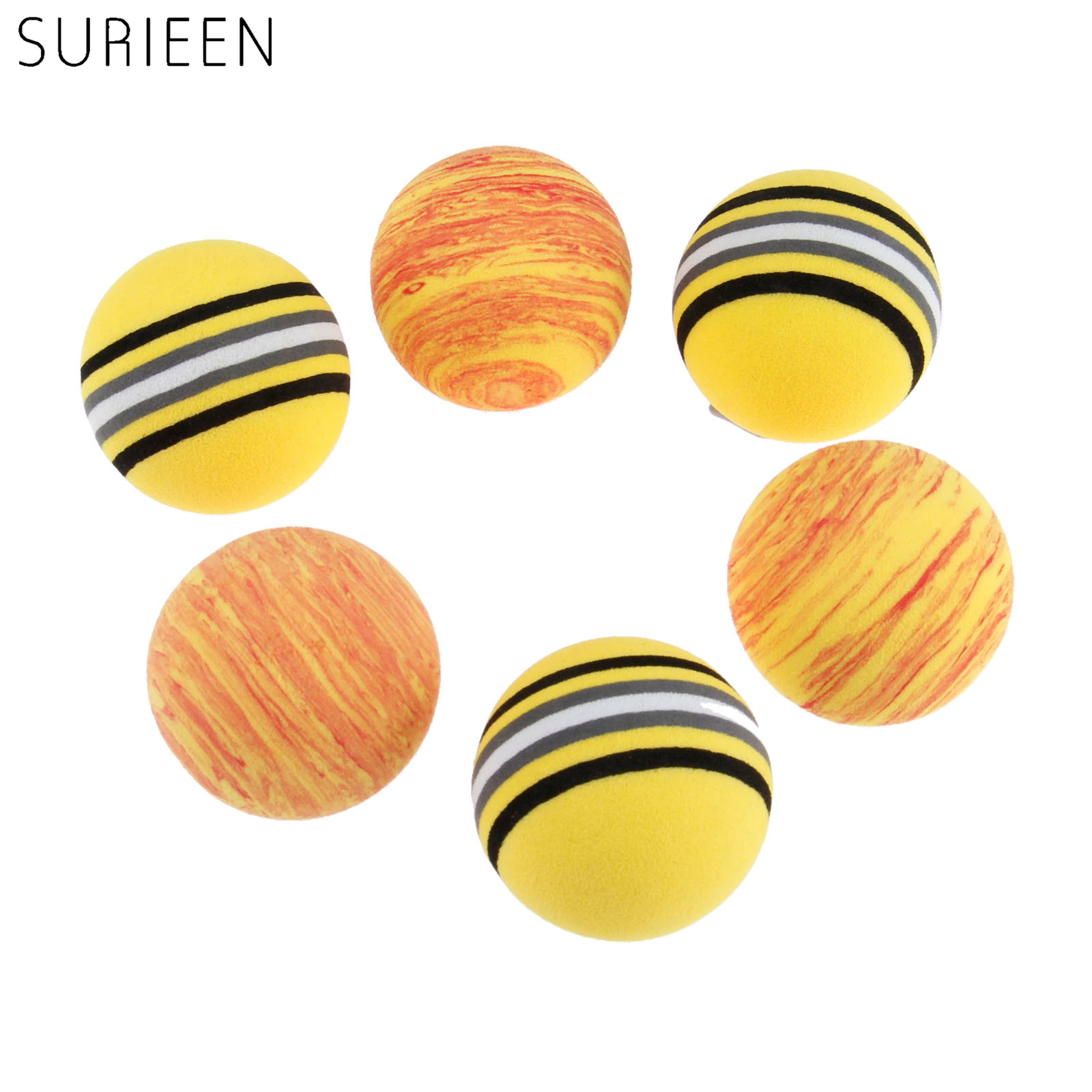 SURIEEN 10Pcs 41mm Golf Rainbow Balls EVA Solf Foam Sponge Golf Balls Tennis Swing Training Light-weight Golf Practice Balls