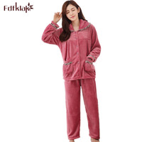 Ladies Pyjamas Set Pajamas Winter Flannel Long Sleeve Pijama Plus Size L 3XL Womens Pajamas Set Tracksuit Sleepwear Sets Q363