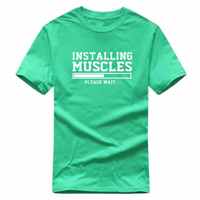 Men's T-shirts summer 2018 printed INSTALLING MUSCLES funny T-shirt fashion brand clothing crossfit t shirt men homme fitness 2