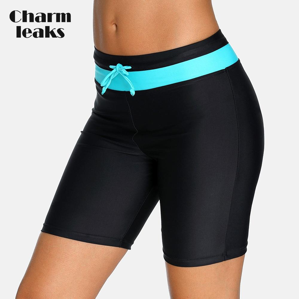 Charmleaks Women's Sports Bikini Bottom Capris Swim Trunks Swimwear Briefs Slim Swimsuit Bandage Adjustable Swimming Bottom