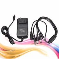 12V 2A US Power Supply Adapter Charger 4 Way Splitter Cable For CCTV Security Surveillance Camera