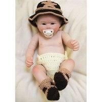 Стильный 20 ''50 см Reborn куклы младенца с соской Полный Силиконовые винил маленькая кукла коренится мохер Фестиваль детей подарки Горячие