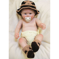 Stylish 20'' 50cm Reborn Baby Dolls with Pacifier Full Silicone Vinyl Small Baby Doll Rooted Mohair Festival Children Gifts Hot