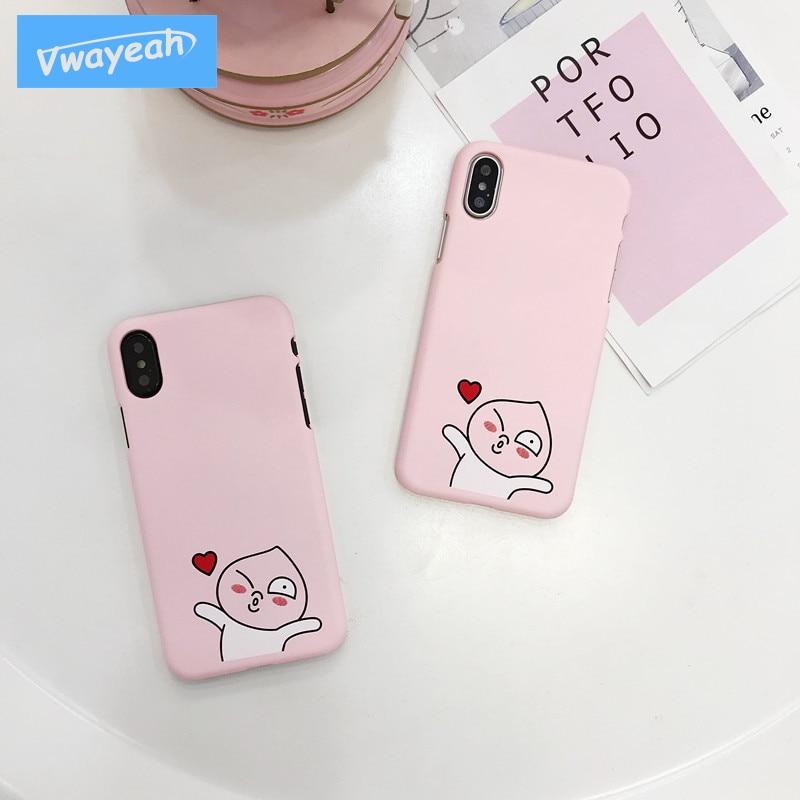 Ins Hot Japan Cartoon Fart Peach Jun Small Peach Man Kawaii Lovely Make Face Red Face Love Heart Case For iPhone x 10 6 7 8 Plus
