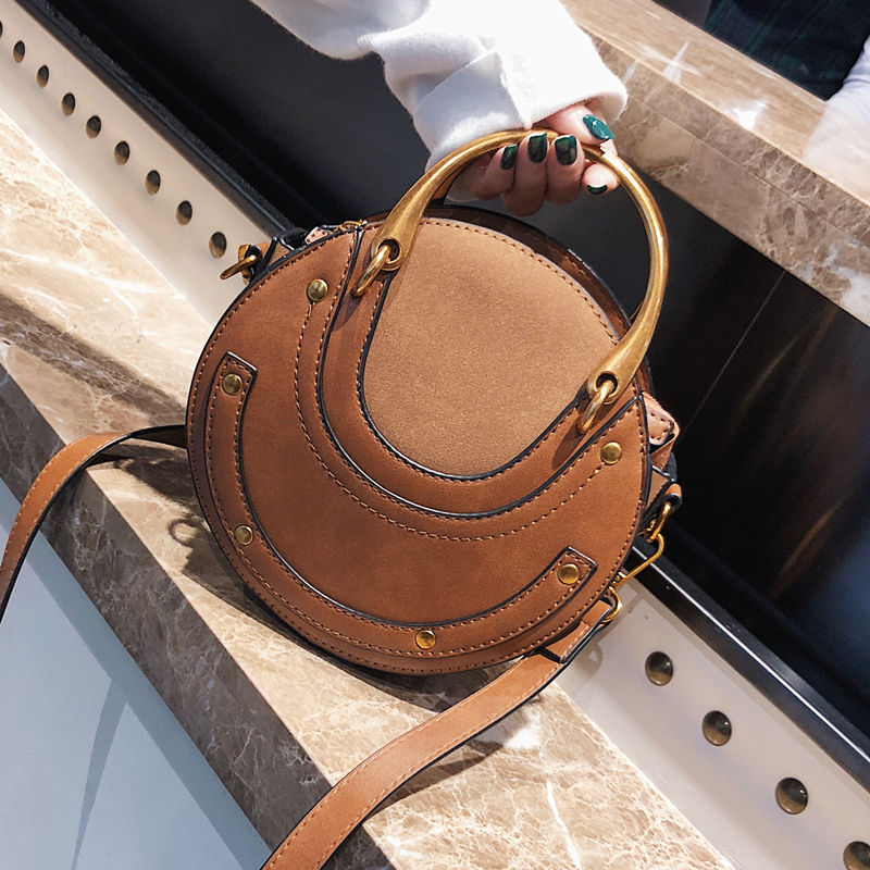 autumn winter European and American new round metal handle bag Single Shoulder Satchel small round bag
