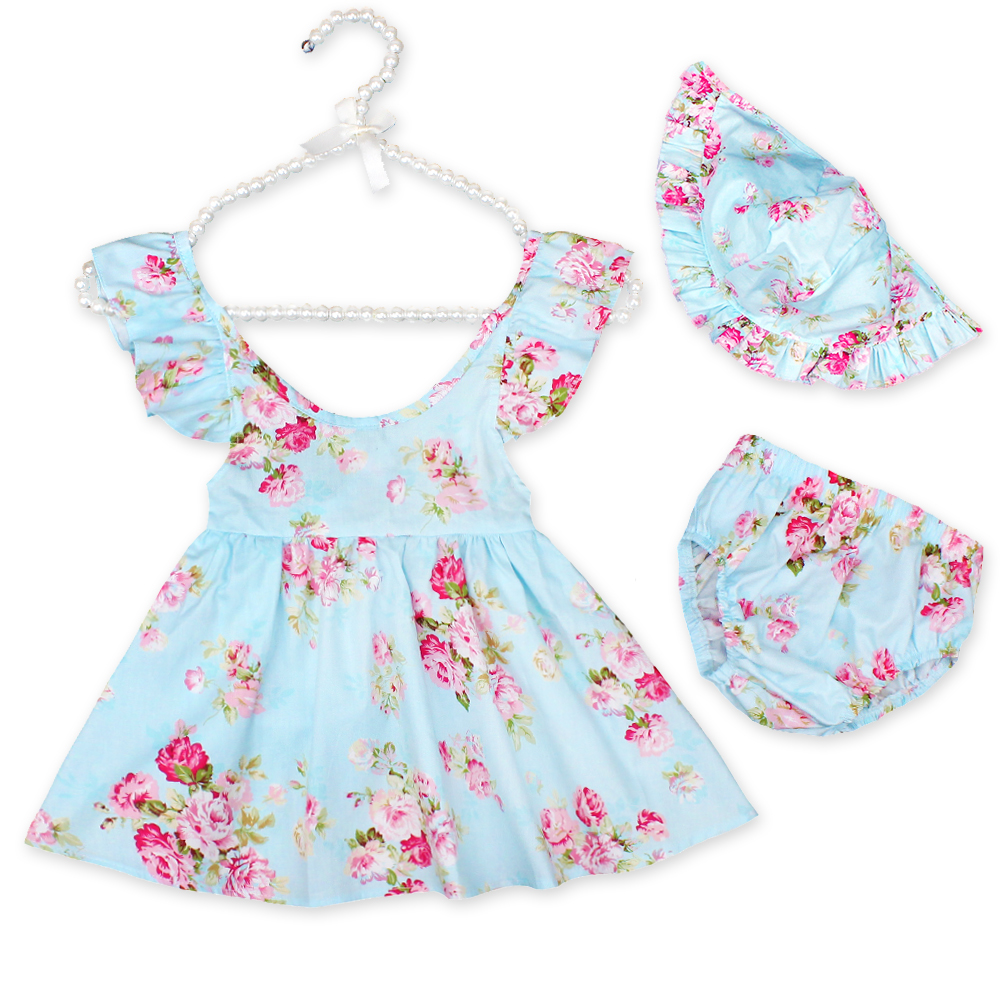 New baby clothing set toddler girls sleeveless ruffle dresses tutu dress for girls baby clothing set shorts matched hat 1-4yrs girls ruffle plain shorts