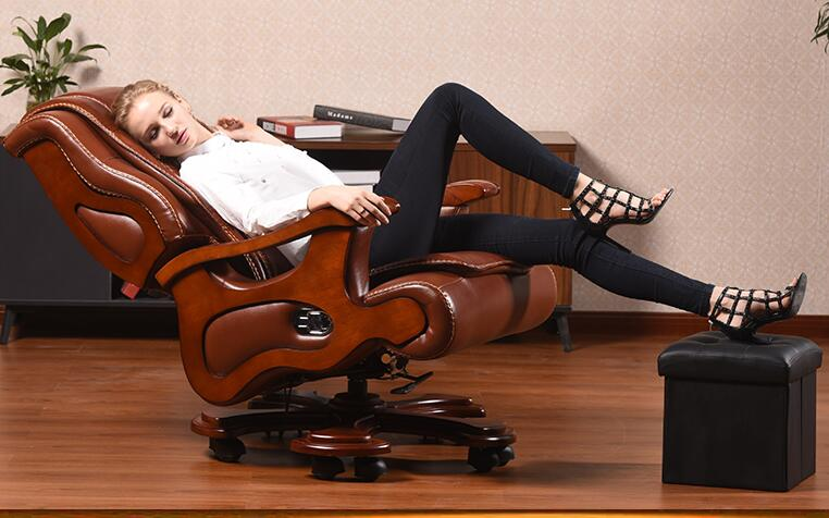 Office chair swivel chair. Real wood boss chair. Lift massage can lie in the computer chair.03 240320 home office can lie down high density inflatable sponge 360 degrees can be rotated computer chair boss massage chair