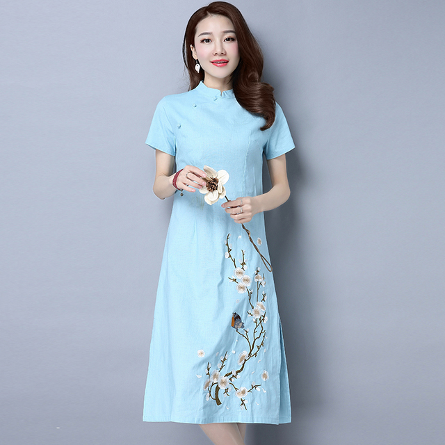 2019 new print chinese traditional dress cheongsam women mandarin collar chinese cheongsams oriental dresses evening dress