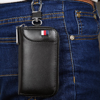 YOUTHHANG Leather Key Case Car Key Door Keys Holder 2 In 1 Wallet With 6 Rings