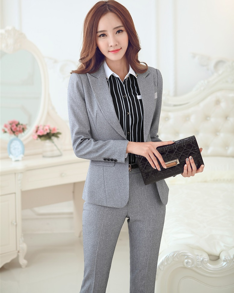 Novelty Grey Formal Uniform Style Business Women Work Suits With Blazers And Pants Female Trousers Clothing Sets Autumn Winter