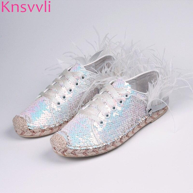 Knsvvli 2019 paillettes blanches chaussures plates femmes plumes amovibles décorer chaussures à lacets corde de chanvre paresseux mocassins chaussures dames
