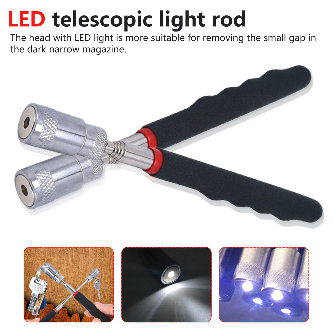 Telescopic Adjustable Hand Tools Long Reach 80.8cm LED Light Magnetic Pick-Up  With LED Light Tools Picking Up Nuts Bolts Magnet