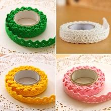 Free Shipping Cotton Lace Fabric White Crochet Roll Ribbon Knit Adhesive Tape Sticker Craft Decoration  1pcs
