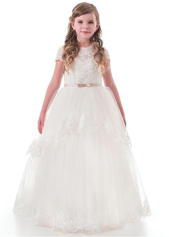 Princess Ivory White Lace Flower Girl Dresses 2018 Tulle Girls Pageant Dresses First Communion Dresses Evening Gowns Custom Size white ivory flower girl dresses for wedding lace communion dresses for girls 1 year old pageant dresses kids evening gowns