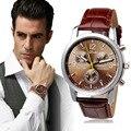 Qualidade superior Relógio Legal Crocodilo Brown Faux Leather Strap Mens Relógio Analógico Quartz Vestido Relógios de Pulso Relógio de Negócios