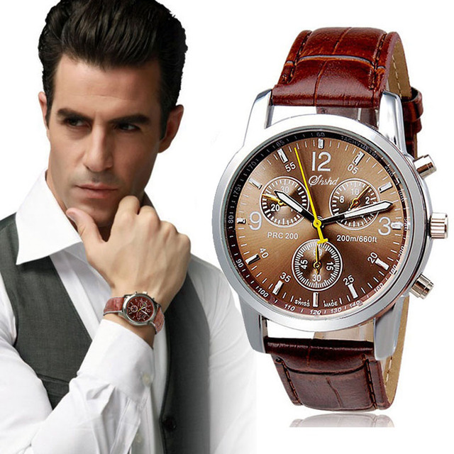 watch miler brown with watches quartz for nubuck men mens strap wristwatch p leather analog male