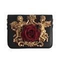 NEW design Baroque styer Women Red rose Flower shoulder Bag PU Leather Bag Ladies Messenger Bag With a 3D angel Women Handbag