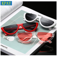 KPAY 2019 Fashion Sun Glasses Female Colorful UV400 Cool Semi Rimless Narrow Frame Lady Cat Eye Sunglasses Women Personality цена в Москве и Питере