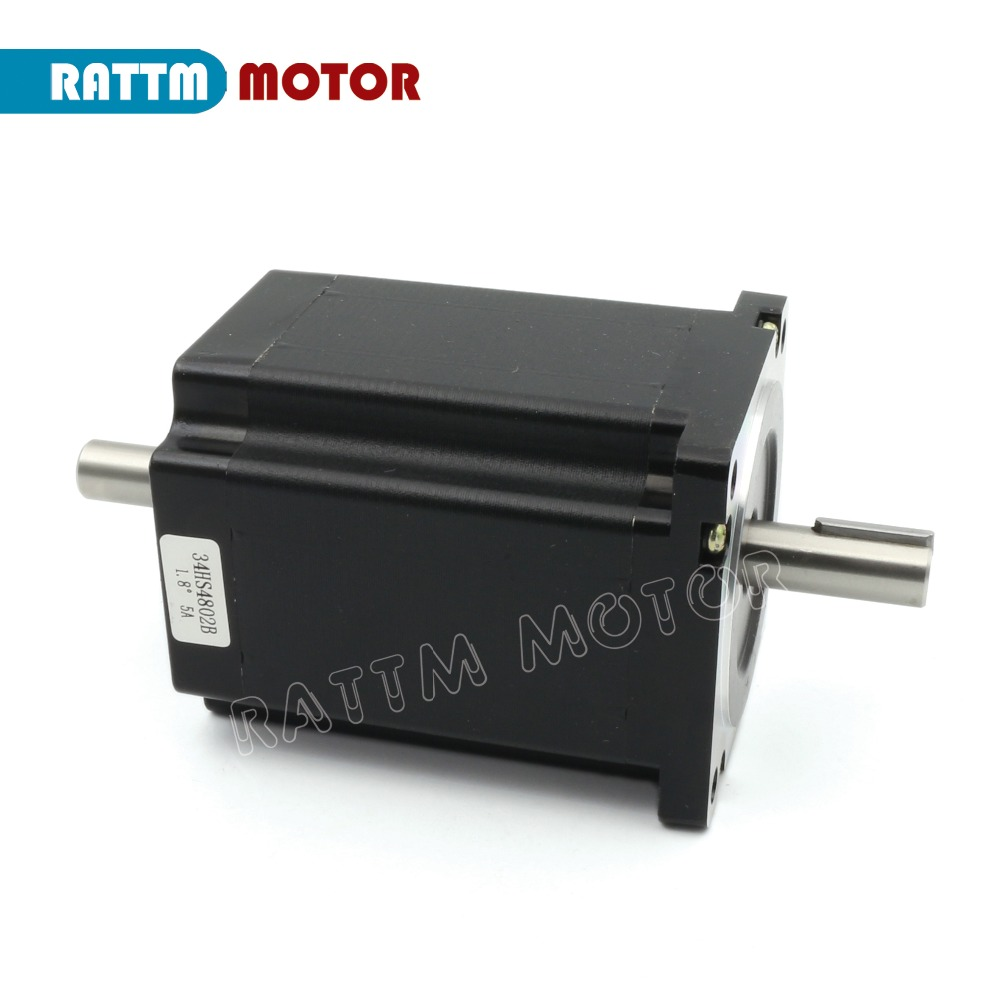 EU free VAT 4 Axis Nema34 Stepper Motor 1230Oz-in/5A Dual shaft & 6A/80VDC 256 Microstep driver Kit for CNC Milling Machine