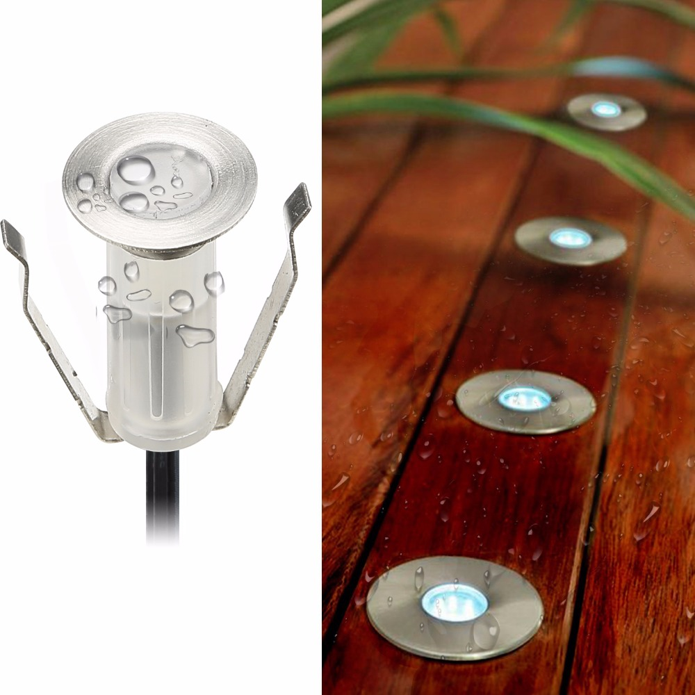 19mm Diameter Mini Lille Størrelse LED Patio Lampe Lys til Have / Bygning Hall / Hotell / Villa Deck / Footstep Indbygget i Ground / Wall