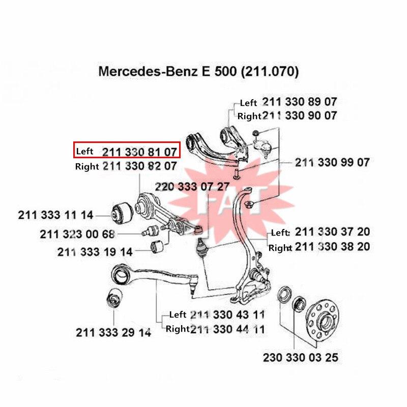 Mercedes W211 E320 E350 E500 CLS 500 Front Left Lower Control Arm 211 330 81 07