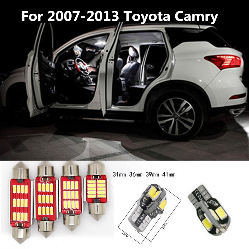 10Pcs White Ice Blue Canbus LED Bulbs Interior Package Kit For 2007-2013 Toyota Camry Map Dome Trunk Door Light