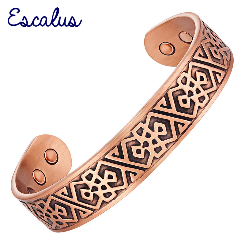 Escalus Men's Pure Copper Jewelry Magnetic Bangle For Men Powerful Bio Fashion Antique Big Wide Bangles & Bracelet For Gift
