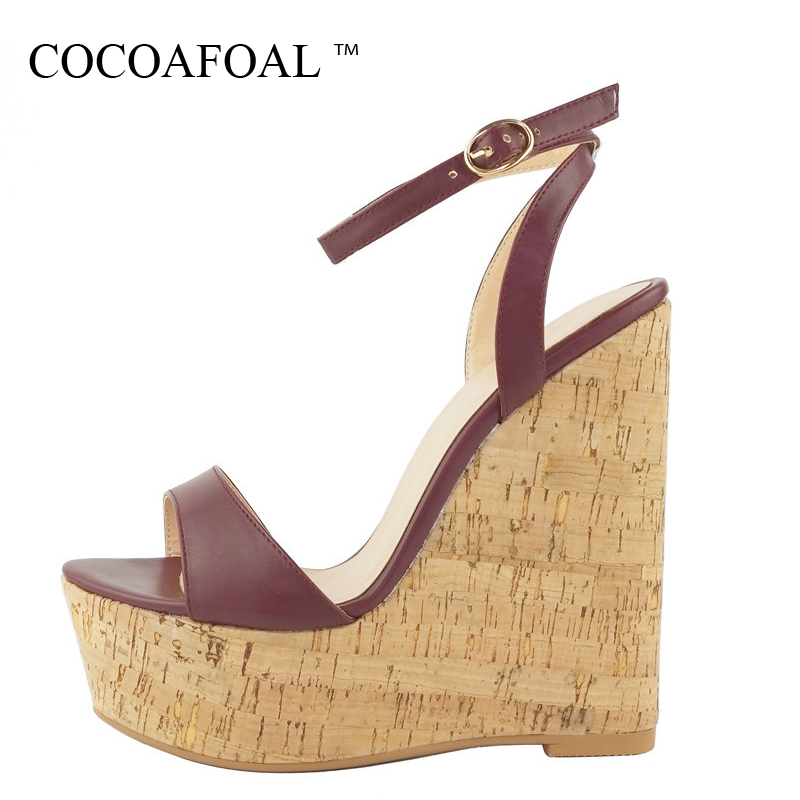 COCOAFOAL Women Summer Wedges Peep Toe Heels Sandals Plus Size 34 - 43 High Heels Wedding Shoes Gladiator Party Open Toe Sandals large size 34 44 women open toe buckle high heels sandals wedges summer ladies cut outs peep toe rhinestone party wedding shoes