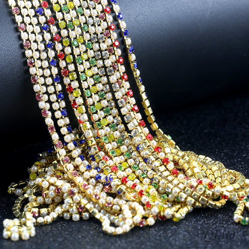 Pearl Chain 10 Yards Bag Crystal Glass 2mm 3mm Golden Base Cup Rhinestone Sew-on