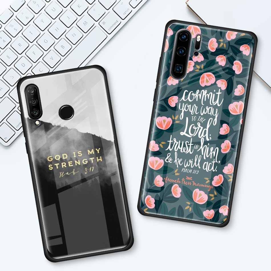 Bible Verse Tempered Glass Case For Huawei P30 P40 Pro Plus P20 Lite P Smart 2019 Nova 5I 5T 5Z 7I Mobile Phone Cover Coque
