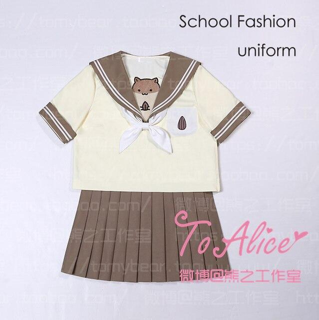 d2bb77de72 Funny Scared Hamster Theme Japan JK Uniform Suit Tops + Pleated Skirt  Sailor Collar Blouse Shirt Lolita with Neck Bow
