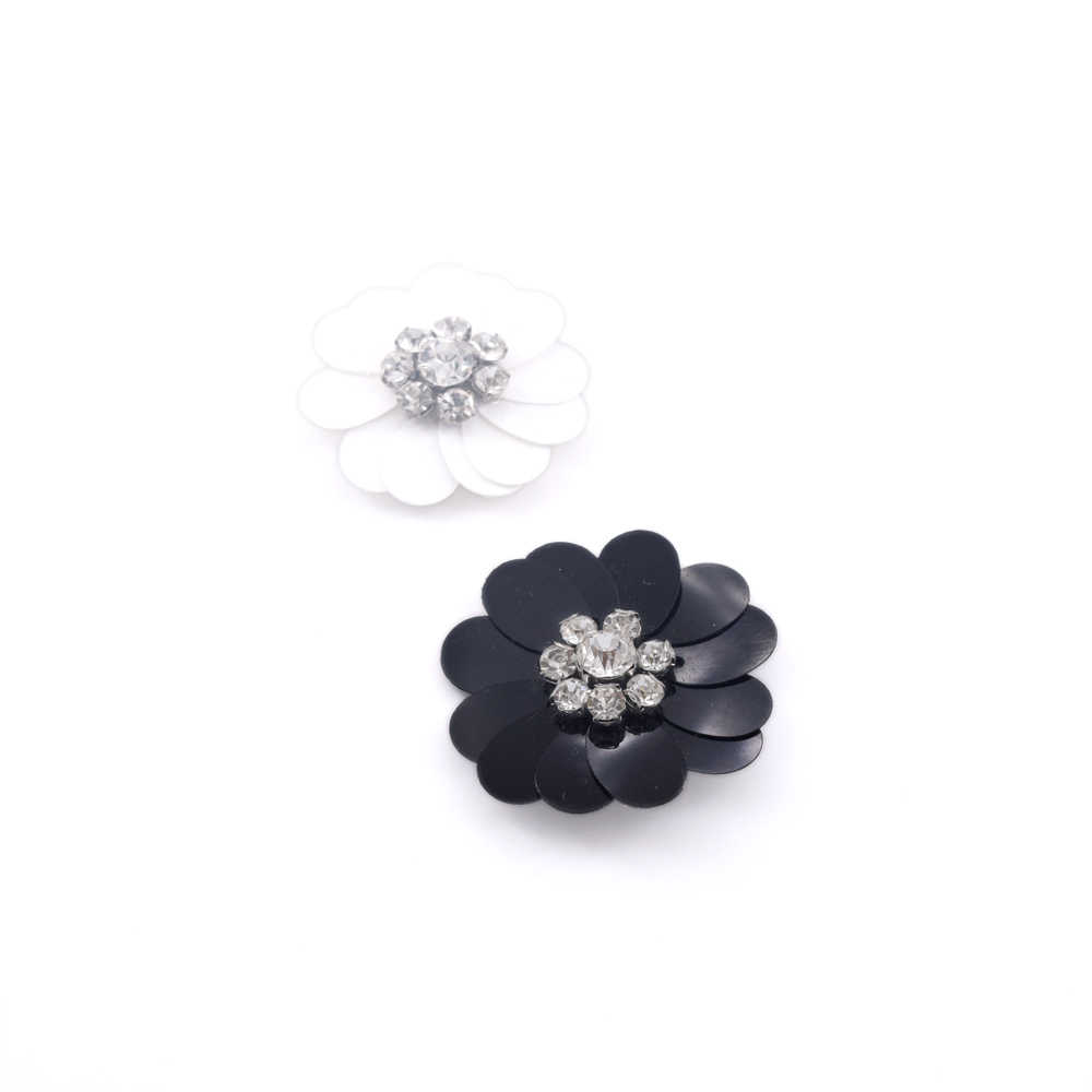 3CM DIY Handmade Black White Plastic Rhinestone Fabric Flowers Sew on Iron  on Decorations for Bride Dresses Garment Accessories -in Lace from Home    Garden ... 2eb0775a938c