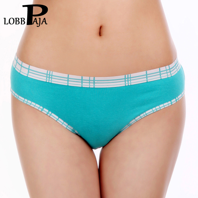 Woman Underwear Cotton Plaid Female Girls