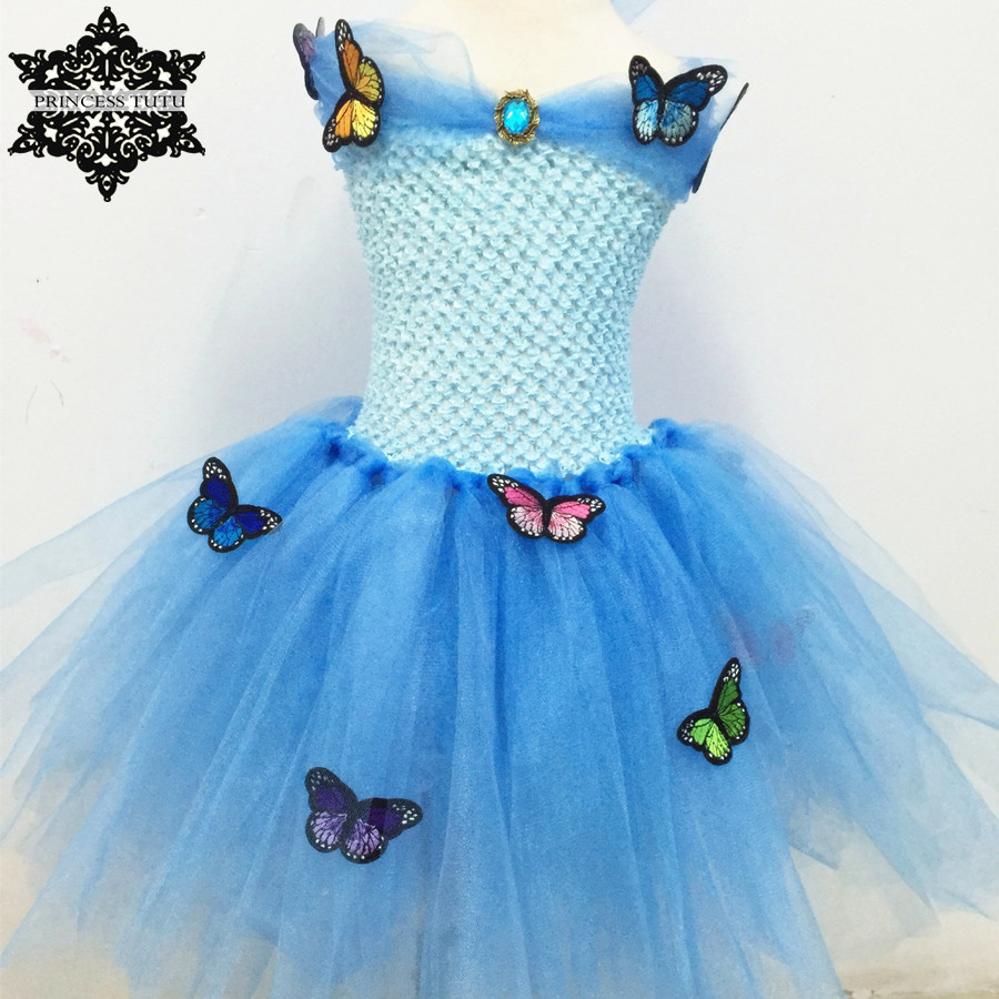Princess Tutu Blue Sequin Girl Cinderella Dress Tulle Butterfly Dress Kids Party Christmas Halloween Cosplay Cinderella Costumes юбка blue shells cosplay pettiskirt tutu lolita