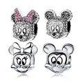 Vintage 925 Prata Esterlina Encantos Mickey Minnie Dos Desenhos Animados Cabeça de Animal Charme Fit Pandora Charm Bead Colar Pulseira Diy berloque