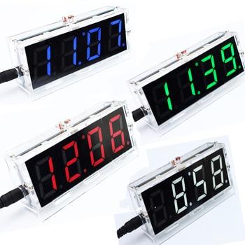 DIY Kit Red LED Electronic Clock Microcontroller Digital Clock Time Thermometer diy electronic kit elekstube programmable 6 bit rgb glow digital clock nixie tube clock kit diy electronic retro desk clock 5v micro usb powered