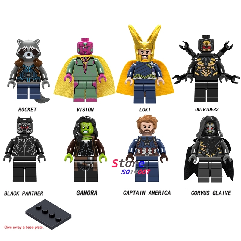 50pcs Marvel Avengers Infinity War Captain America Black Panther Vision Rocket Loki Gamora outrider building blocks
