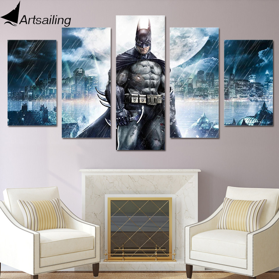 Hd Printed Batman Movie Poster Group Painting Canvas Print -1296