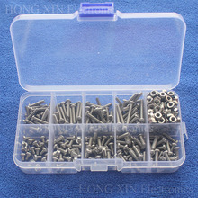 M3 Button Head Stainless Steel Hex Socket Screws Bolt Hex Nuts Assortment Kit with Plastic Box Hardware Wholesale 10 Kinds screw