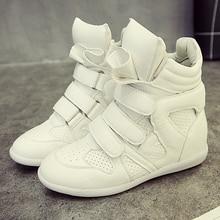 font b Women b font Casual Shoes Hidden Wedges Canvas Shoes Ladies Black White Platform