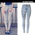 2017 primavera estilo de alta elástico skinny jeans mujer mediados de cintura de los pantalones apretados de la pierna pantalones vaqueros rasgados pantalones cortos de mezclilla de la vendimia femenina MÁS TAMAÑO