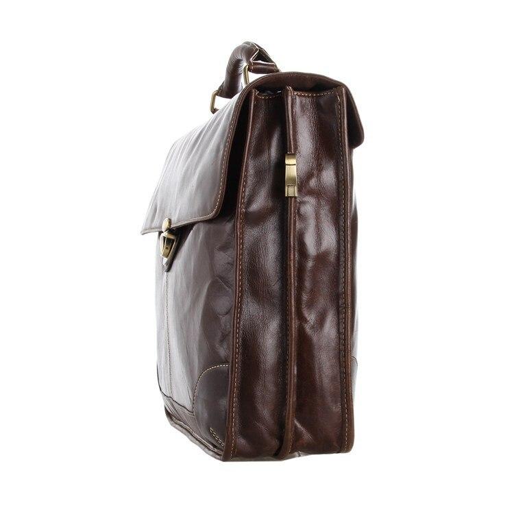 Hoge Kwaliteit Vintage Chocolade Mannen Real Lederen Aktetas Koeienhuid Portfolio Handtas Mannen Messenger Bags # M7091-in Aktetassen van Bagage & Tassen op  Groep 2