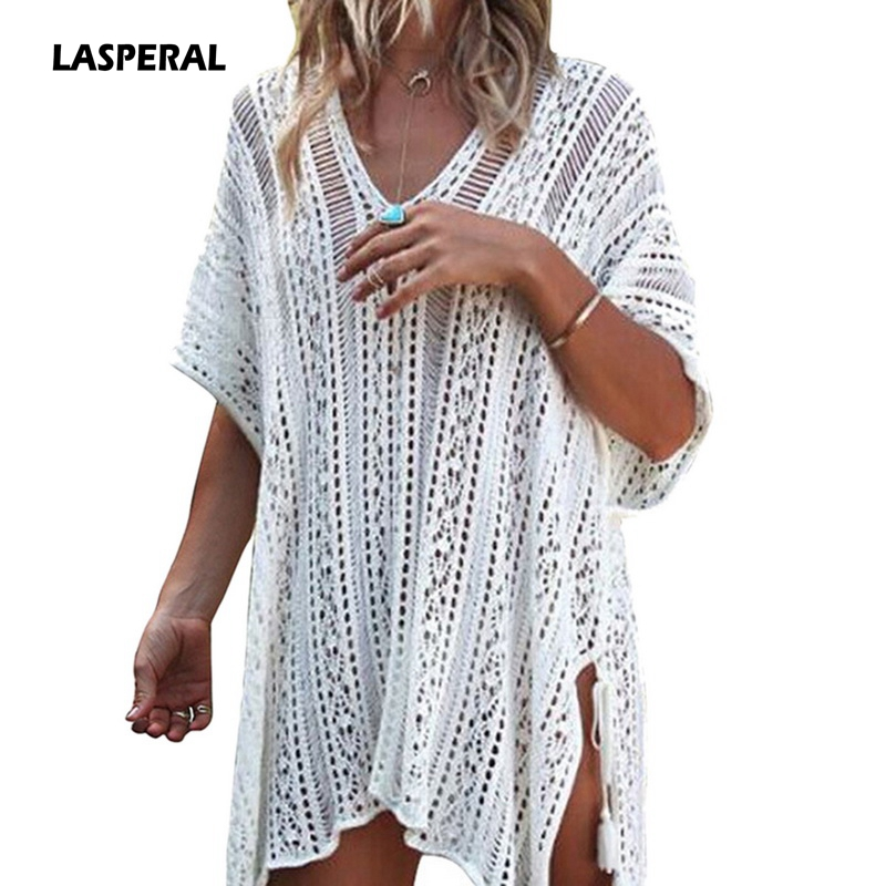 LASPERAL Women Sexy Knitted Smock Dress Plus Size 2018 Beach Summer Hollow Out Dress Sexy Deep V neck Short Sleeve Split Dresses plus size double pockets knitted dress