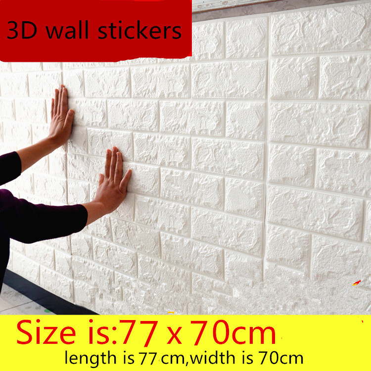 3D wall stickers self - adhesive creative TV background foam wall brick wallpaper decorative waterproof shelf