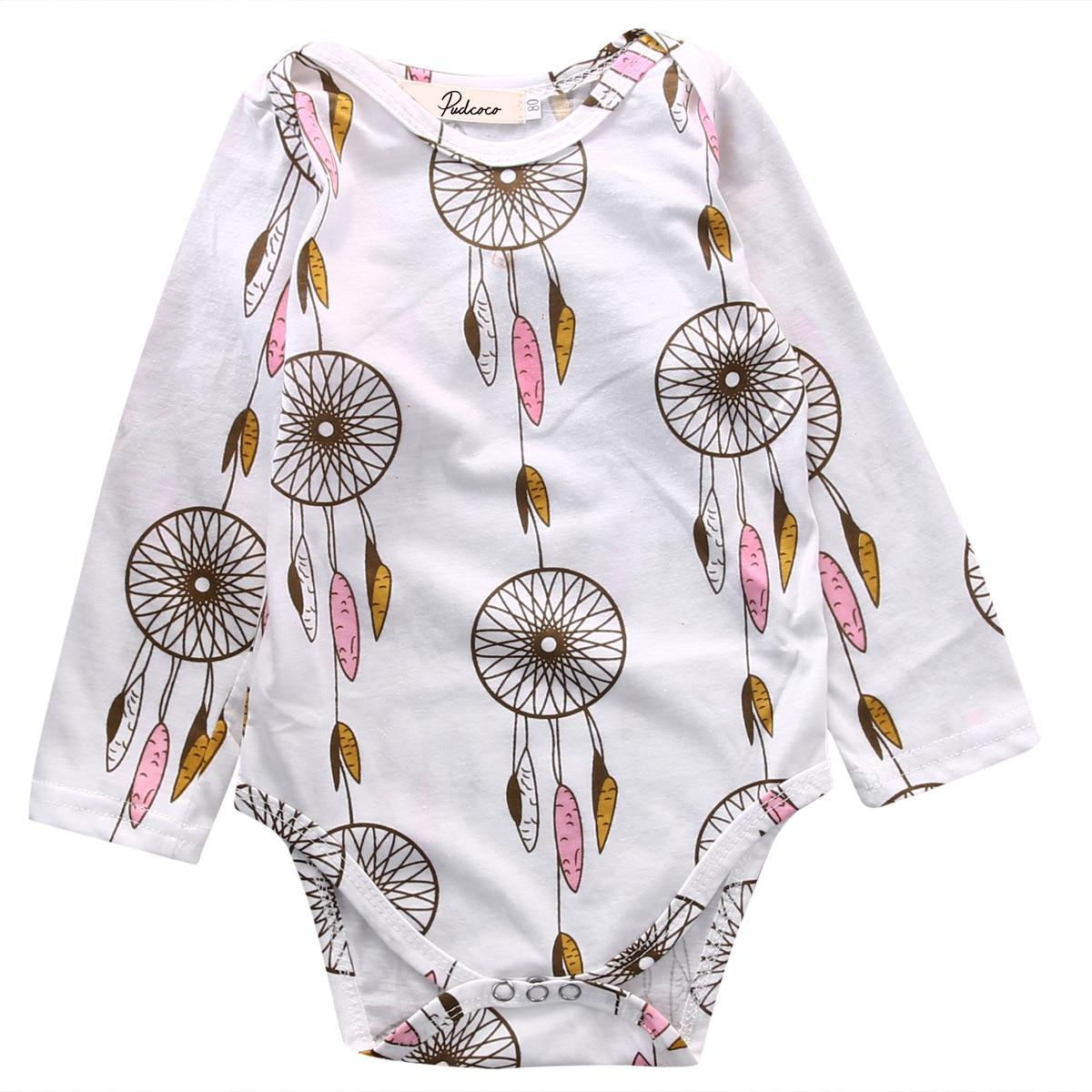 Newborn Baby Boy Girl Long Sleeve Bodysuit Clothes Dream Catcher Infant GIrl Print Jumpsuit Outfits