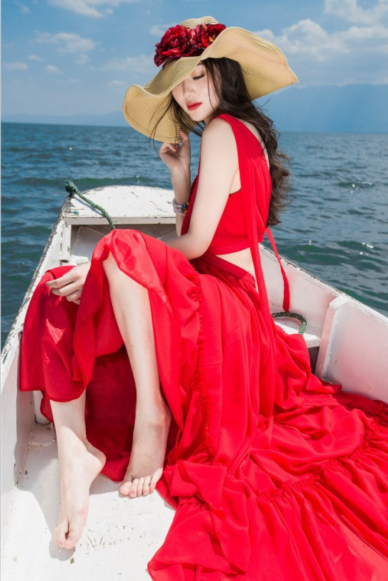 red long see throught back medieval dress vacation seashore dress princess Victoria dress/Marie Antoinette