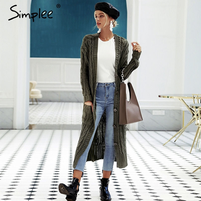 Simplee V neck knitting long cardigan Casual autumn winter sweater women cardigan girl Softly pockets sweater cardigans 2018