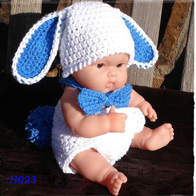 0d732bfcb8e Crochet Baby Bunny Hat with Diaper Cover Gentleman Newborn Costume Set  Handmade Toddler Photography Props H023